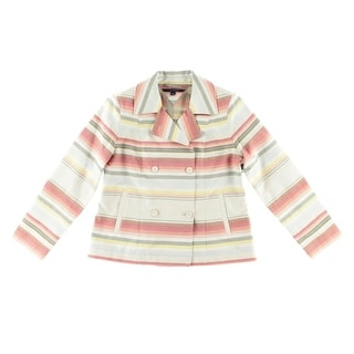 Tommy Hilfiger Womens Striped Double-Breasted Basic Jacket