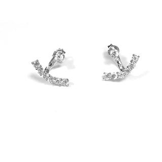 925 Sterling Silver Curve Bar Ear Jacket with Star Stud