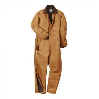 Dickies TV239BDLR Men's Regular Fit Duck Insulated Coveralls, Large, Brown