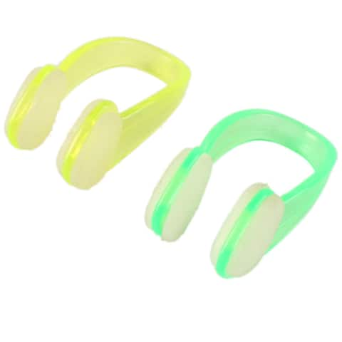 Swimming Water Sport Guard Protector Nose Clip Yellow Green 2pcs