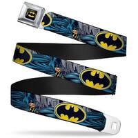 Batman Full Color Black Yellow Batman Bold Power Pose Logo Skyline Grays Seatbelt Belt