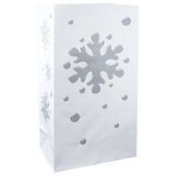 Pack of 100 Flame Resistant Designer White and Silver Snowflake Luminaria Bags 11""