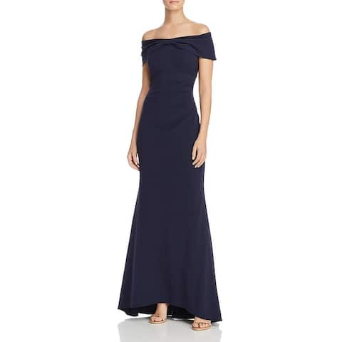 Eliza J Womens Formal Dress Off-The-Shoulder Bow Detail - Navy
