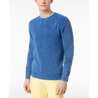 Tommy Hilfiger Mens Wallace Washed Cotton Sweater Blue - M