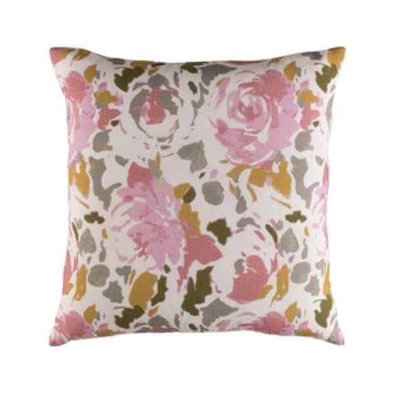 "22"" Blooming Barrage Bubblegum Pink and Tan Brown Woven Decorative Throw Pillow"