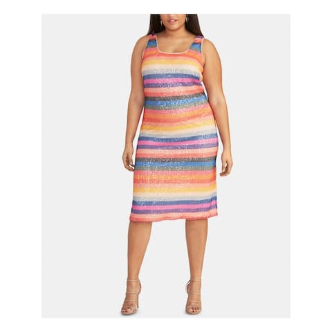 RACHEL ROY Orange Sleeveless Below The Knee Sheath Dress Size 20W