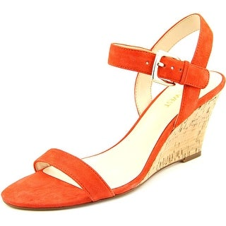 Nine West Kiani Women Open Toe Suede Orange Wedge Sandal