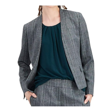 Kasper Women's Blazer Green Gray Size 16 Plaid Open Front 2-Pocket