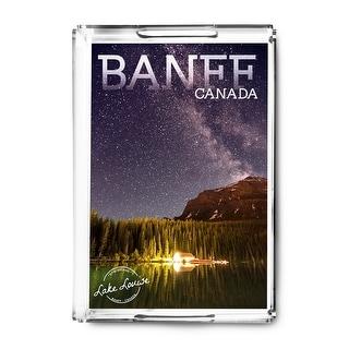 Banff Alberta Canada Lk Louise Boathouse LP Photo (Acrylic Serving Tray)