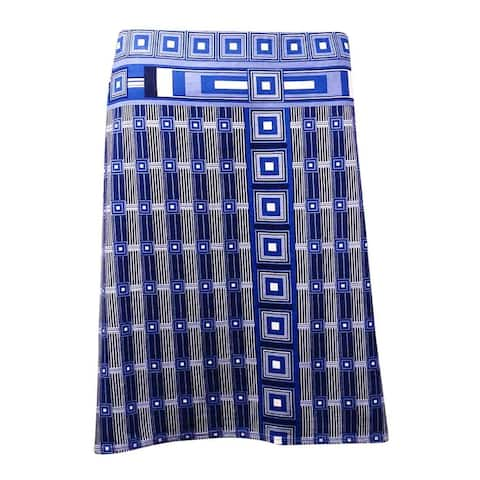 Studio M Women's 'Juliane' Geo Print Knit Jersey Skirt - Navy Multi - XS