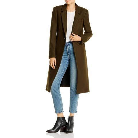 Rag & Bone Womens Daine Long Coat Wool Blend Topper - Olive - 10