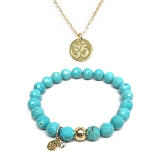 "Turquoise Magnesite 7"" Bracelet & Om Gold Charm Necklace Set"