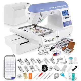 Brother SE1800 Sewing and Embroidery Machine + Grand Slam Package Includes 64 Embroidery Threads + Prewound Bobbins + More