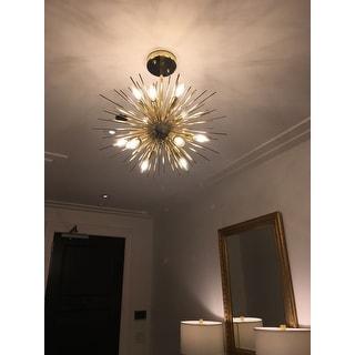 Safavieh Lighting Zadie Gold Retro Sunburst LED 12-light Adjustable Pendant