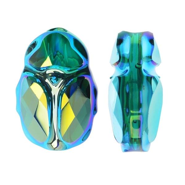 Swarovski Crystal, 5728 Scarab Bead 12mm, 1 Piece, Emerald AB 2X