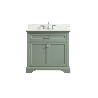 "Azzuri MERCER-VS36 Mercer 36"" Vanity Set with Wood Cabinet, Marble Vanity Top, a - Sea Green"