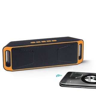 Indigi® Great Gift! Bluetooth 4.0 Portable Wireless Dual Speaker TF USB FM Radio >Orange