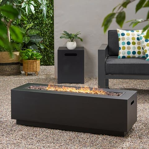 Wellington Fire Pit with Lava Rocks by Christopher Knight Home