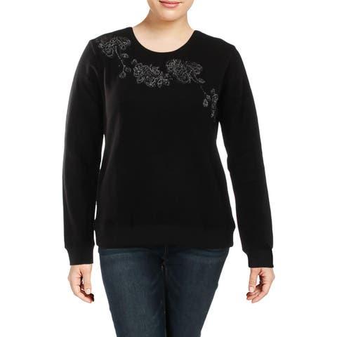 Lucky Brand Womens Sweatshirt Fleece Embroidered - XL
