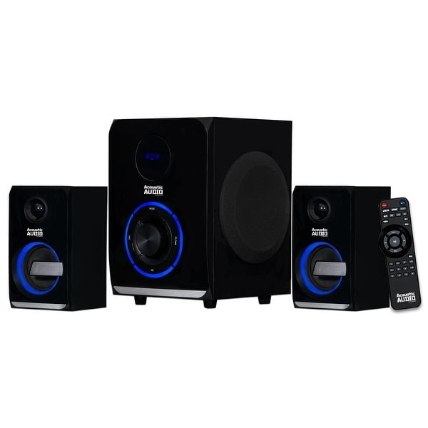 Acoustic Audio AA2105 Bluetooth Home 2.1 Speaker System with LED Lights and USB