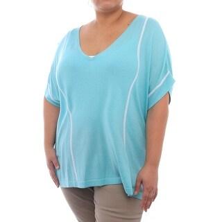 Cullen Blanket V Short Sleeve V-Neck Blouse Women Regular Blouse