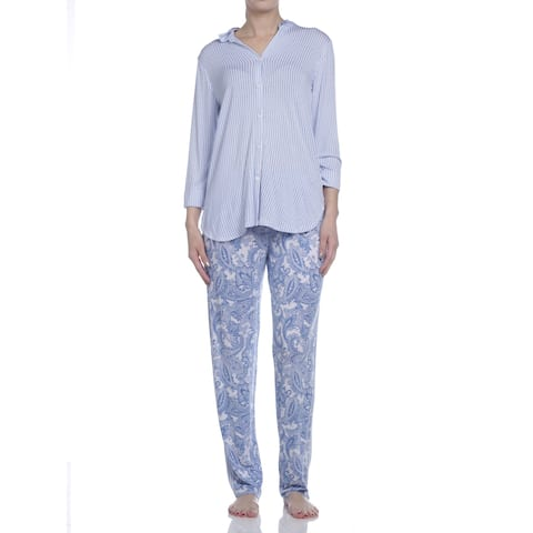 Ellen Tracy Women's Long Sleeve Paisley Pajama Set