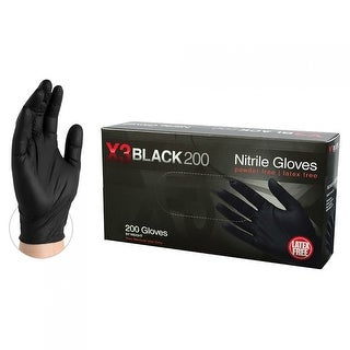 AMMEX BX3D Black Nitrile Industrial Latex Free Disposable Gloves (Box of 200)