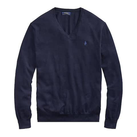 Polo Ralph Lauren Mens Pima Cotton V Neck Knit Sweater XX-Large 2XL Hunter Navy