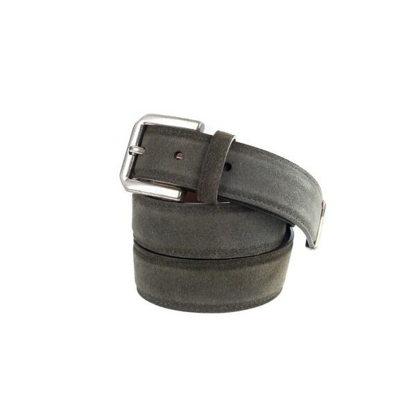 Brunello Cucinelli Grey Suede Rustic Silver End-Tip Slim Belt