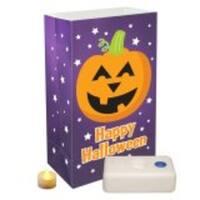 Pack of 12 Battery Operated LED Flameless Tea Candles Halloween Pumpkin Luminaria Kit - Purple