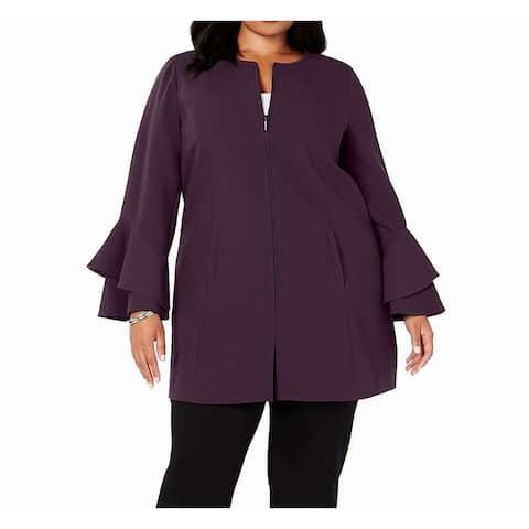 Alfani Womens Topper Jacket Purple Size 3X Plus Ruffle Flounce Sleeve