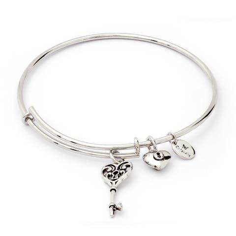 Key Of Life Charm Expandable Bangle Bracelet, Silver Rhodium Plated