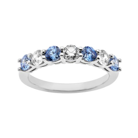 Band with Fancy Blue and White Cubic Zirconia in Sterling Silver - Multi-Color