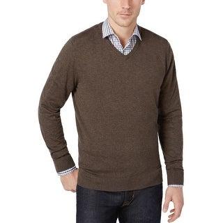 Alfani Black Label Regular Fit V-Neck Sweater Wet Sand Brown XX-Large