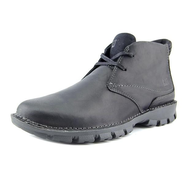 Caterpillar Mitch Men Plain Toe Leather Black Chukka Boot
