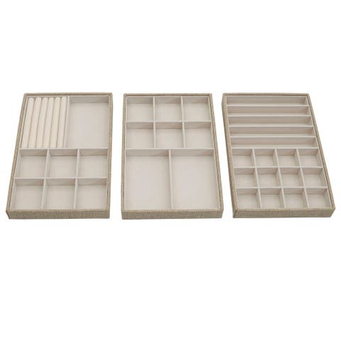 Household Essnetials Stackable Jewelry Storage Trays, 3-Tier, Latte