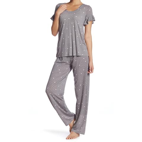45c82c4bdb7 HUE Frost Gray Pink Womens Size Medium M Dor-Print Pajama Sets