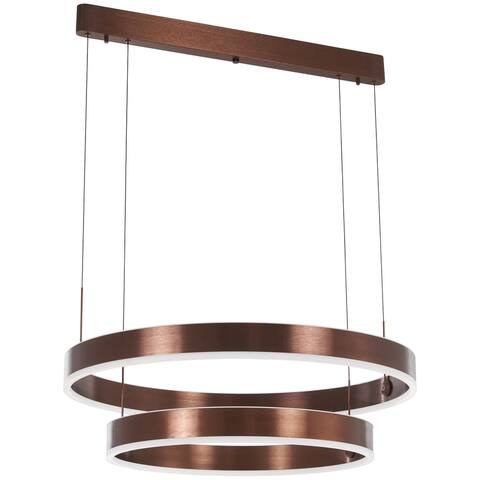 "Kovacs P8154-670-L Rendezvous 31-1/2"" Wide Integrated LED Ring Chandelier with Acrylic Shades - Satin Bronze"