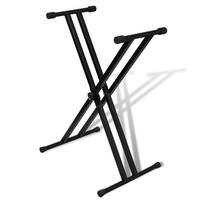 vidaXL Adjustable Double Braced Keyboard Stand X-Frame