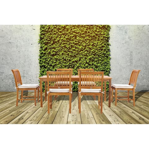 Chic Teak Bermuda Rectangular Teak Wood Patio Bistro Dining Table, 55 x 35 inch (Table Only)