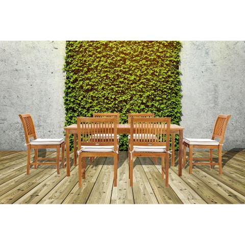 Chic Teak Bermuda Rectangular Teak Wood Patio Bistro Dining Table, 71 x 35 inch
