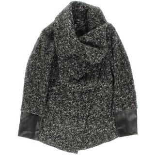 Aqua Womens Coat Wool Blend Faux Leather Trim