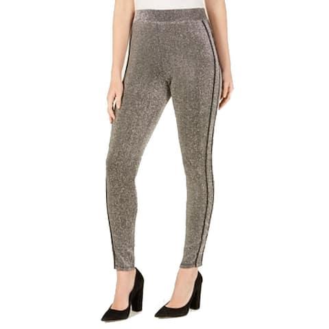 Ultra Flirt Leggings Gray XS Junior Shimmer Contrast Piped Full Length