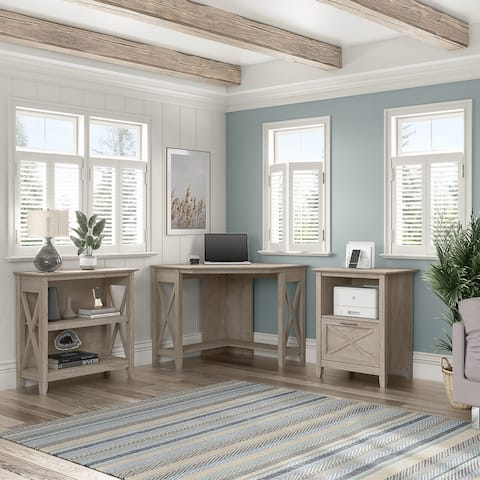 Key West Corner Desk with Bookcase and File Cabinet by Bush Furniture