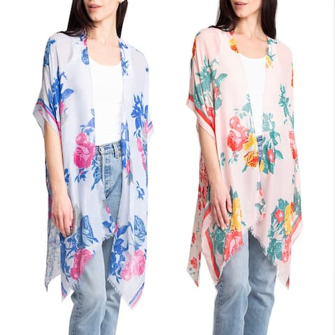 Women's Kimono Summer Floral Print Cover-Up Lightweight Top Beachwear Dress - One Size