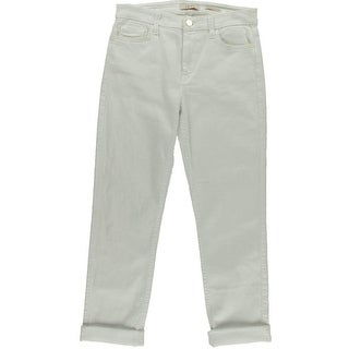 Jen 7 Womens Straight Crop & Roll Denim Classic Rise Cropped Jeans - 4