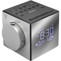 Black Nature Sound Alarm Clock Radio with Time Projection