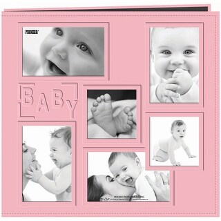 """Pioneer Embossed Collage Frame Post Bound Album 12""""X12""""-Baby - Pink"""