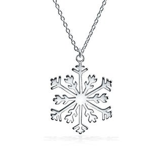 Holiday Winter Snowflake Pendant Necklace High 925 Sterling Silver - 18
