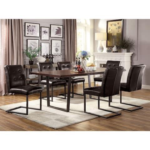 Furniture of America Tver Rustic Oak Metal 7-piece Dining Set